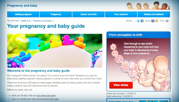 NHS Pregnancy website
