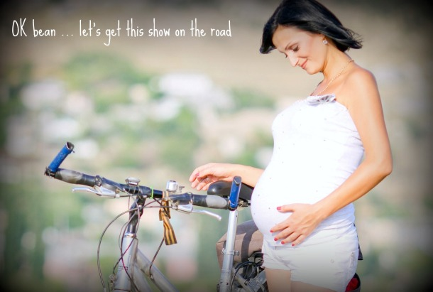 pregnant on bicycle