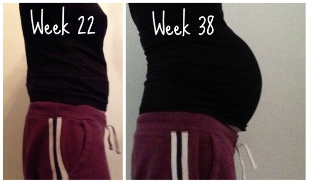 Pregnancy Bump Week 22 vs Week 38