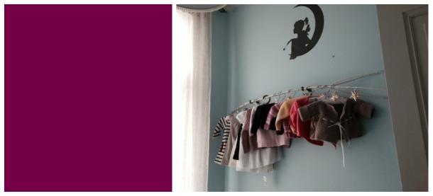 Nursery design clothes branch blue grey white