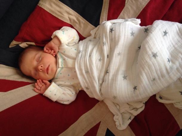 Six week old sleeping baby