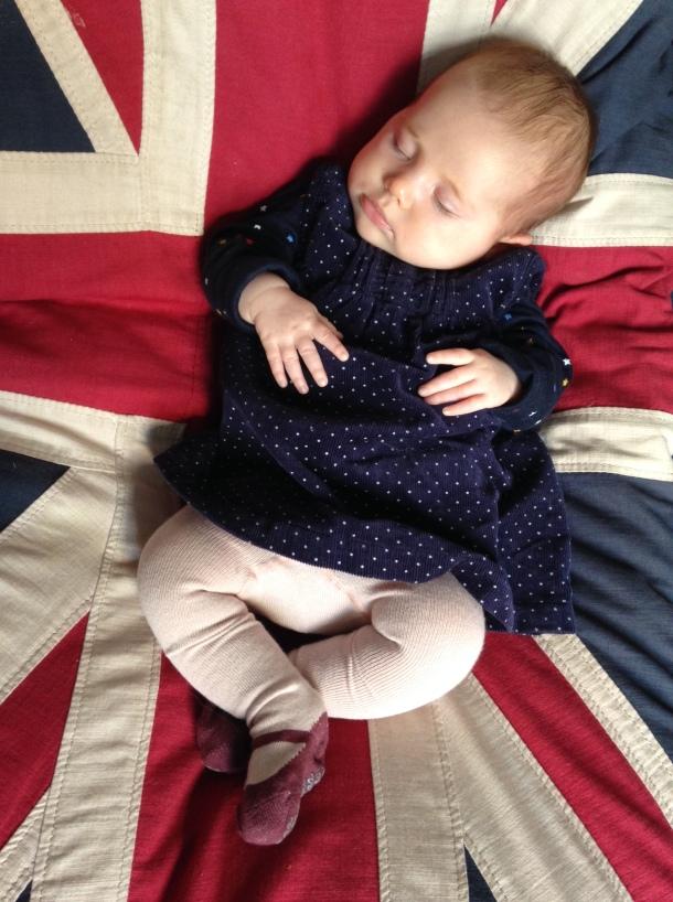 sleeping baby union jack 10 weeks